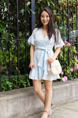 light blue Stitch Fix dress - eggshell Chloe bag