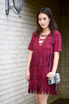 maroon fringe asos dress - black YSL bag