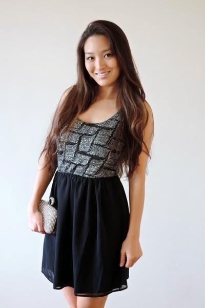 silver sparkly clutch Lily Rain bag - black glitter a-line deb dress