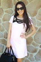 black Rebecca Minkoff bag - light pink Little Mistress dress