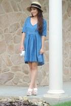 blue tencel Velvet Heart dress - camel straw arth hat - white crossbody deb bag