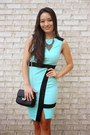 Aquamarine-bodycon-deb-dress-black-crossbody-deb-bag