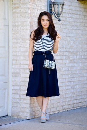 navy military a-line banana republic skirt - black YSL bag