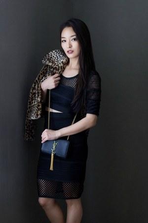 black two piece AmiClubWear dress - black YSL bag