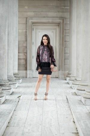 black lace Alexis top - gray ombre bandage BCBG skirt