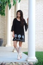 black tunic Jess Lea Boutique dress - white gladiator AmiClubWear sandals