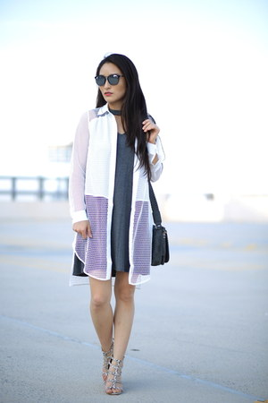 charcoal gray Charming Charlie dress - black Covry sunglasses - white asos top