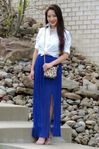 navy pleated maxi Charlotte Russe skirt - white Polo shirt