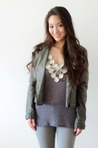 heather gray distressed moto RD style jacket - silver skinny vince jeans