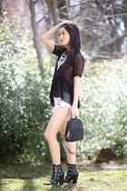 black buckle Steve Madden boots - black mini backpack Violet Ray bag