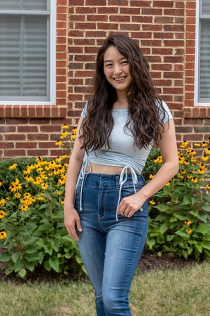 sky blue ruched crop Almost Famous Clothing top