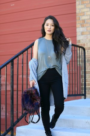 black lace up Forever 21 pants - heather gray AmiClubWear sweater