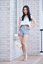eggshell AmiClubWear bag - navy francescas shorts