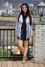 Gray-old-navy-dress-beige-quilted-classic-chanel-bag