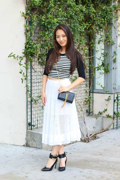 black YSL bag - black strappy Rachel Zoe heels