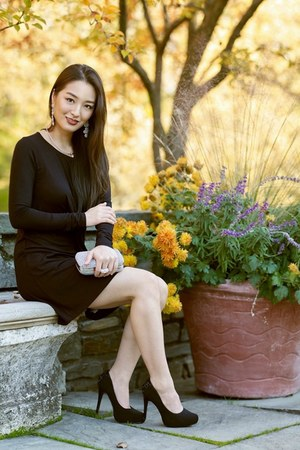 black draped AmiClubWear dress - silver sparkly clutch Lily Rain bag