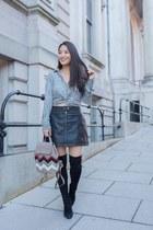 black stuart weitzman boots - tan mini Radley London bag