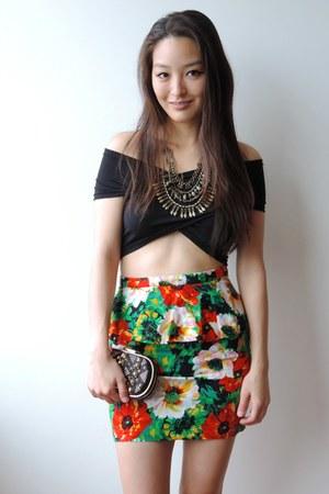 black studded clutch Handbag Heaven bag - red floral peplum Forever 21 skirt