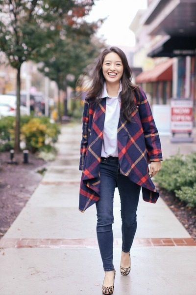 navy skinny Aeropostale jeans - crimson plaid Chicwish jacket