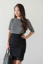 black Prada bag - black striped crop RD style top
