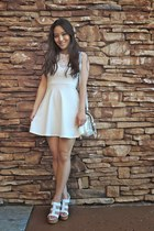 white deb dress - white LucyMint bag - white platform sandal deb wedges