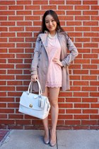 white satchel coach bag - beige round toe heel Jessica Simpson shoes