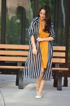 white OASAP shoes - gold v-neck ruffle H&M dress - navy striped long doota top