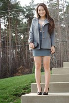 heather gray plunge deb dress - heather gray Fashion Frenzzie blazer