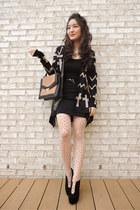 black Charlotte Russe cardigan - black suede platform deb boots