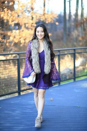 blue Undeniable Boutique dress - deep purple off saks fifth vest