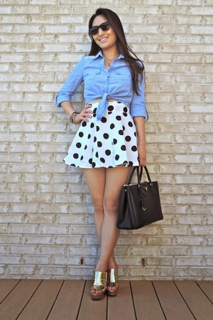 white OASAP skirt - black saffiano Prada bag - black Charlotte Russe sunglasses