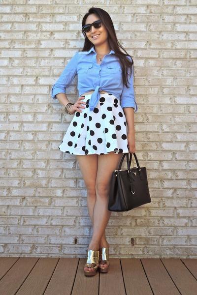 white OASAP skirt - black saffiano Prada bag - black Charlotte Russe sunglasses