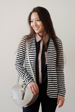 black striped Tobi blazer - light brown crossbody Handbag Heaven bag