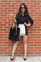black Soie skirt - black logo tote Michael Kors bag