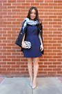 Navy-madewell-dress-navy-spiegel-coat-light-blue-printed-nepali-by-tdm-scarf