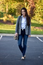 dark brown coach bag - navy high-waisted Aeropostale jeans - gray Theory blazer