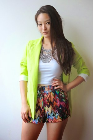 yellow neon Cheeky Peach blazer - red printed chevron Haute Rogue shorts