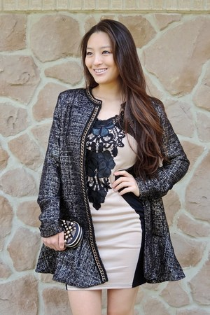 black Spiegel coat - tan bodycon Miusol dress