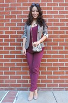 maroon statement Taara Jewelry necklace - charcoal gray fitted Theory blazer