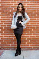black peplum lbd deb dress - silver fringe AmiClubWear jacket