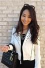 Black-persunmall-dress-white-charlotte-russe-jacket-black-christian-dior-bag
