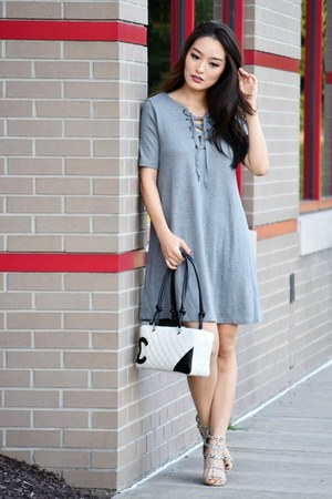 heather gray tee-shirt asos dress - white Chanel bag