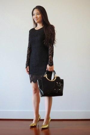 black OASAP dress - black Handbag Heaven bag - gold Trades of Hope earrings