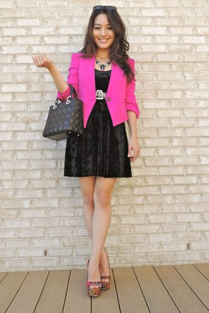 hot pink Reese  Riley blazer - black Forever 21 dress