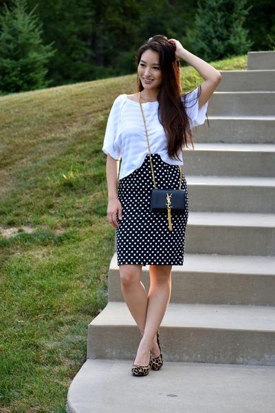 white striped Lime & Vine top - black crossbody YSL bag - brown 548 heels