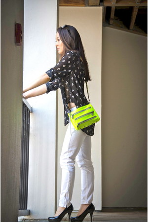 black Double Zero Clothing top - yellow Rebecca Minkoff bag