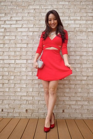 red Charlotte Russe dress - silver Lily Rain bag