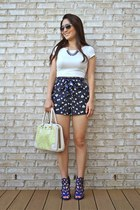 navy Charlotte Russe shorts - lime green vintage Darling bag