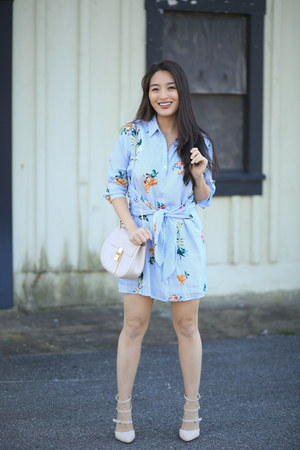 sky blue floral Hailey Raine Boutique dress