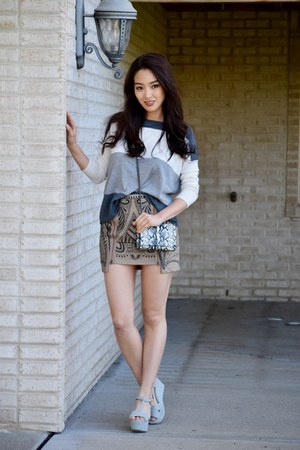 gray cropped Joie sweater - black YSL bag